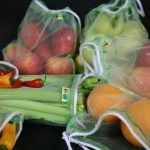 Reusuable mesh double thickness produce bags in various sizes